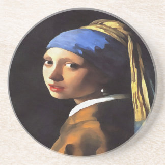 Girl with a Pearl Earring After Johannes Vermeer Drink Coasters