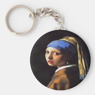 Girl with a Pearl Earring After Johannes Vermeer Key Ring