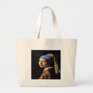 Girl with a Pearl Earring After Johannes Vermeer Large Tote Bag