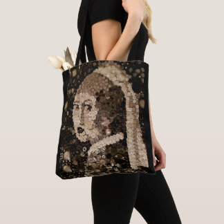 Girl with a pearl earring, button mosaic art. tote bag