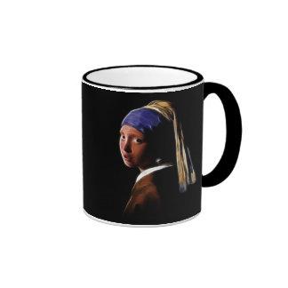 Girl with a Pearl Earring Digital Painting Vermeer Ringer Mug