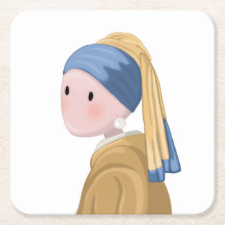 Girl with a Pearl Earring Square Paper Coaster