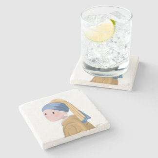 Girl with a Pearl Earring Stone Coaster
