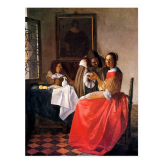 Girl with a wine glass by Johannes Vermeer Postcard