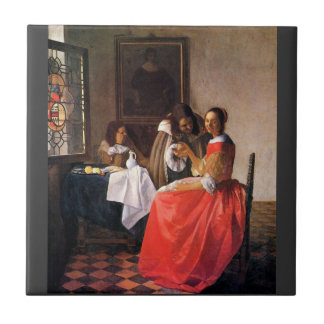 Girl with a wine glass by Johannes Vermeer Ceramic Tiles