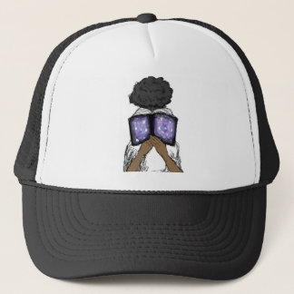 Girl with Afro Reading Trucker Hat