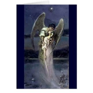 Girl with Angel - Wilhelm Kotarbinski Card