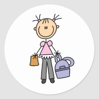 Girl With Backpack Classic Round Sticker