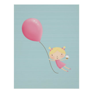 Girl with Balloon & Cupcake Poster