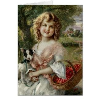 Girl with Basket of Cherries, Card