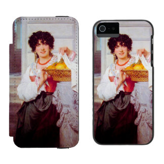 Girl with Basket of Oranges and Lemons by Cot Incipio Watson™ iPhone 5 Wallet Case