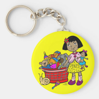 Girl With Basket Of Toys Basic Round Button Key Ring