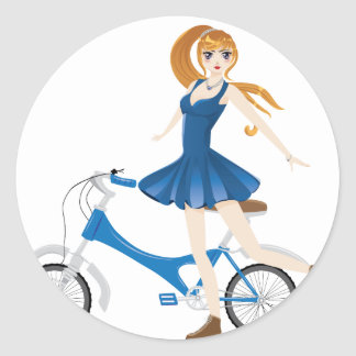 Girl with Bicycle 2 Round Sticker