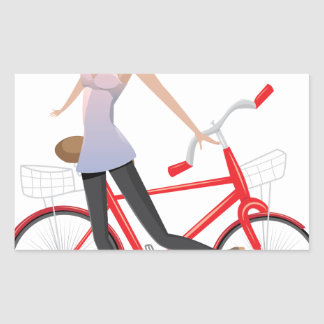 Girl with Bicycle Rectangular Sticker