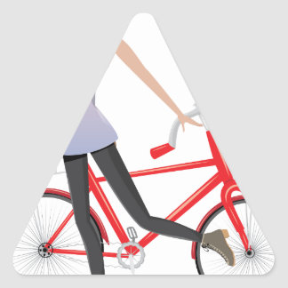 Girl with Bicycle Triangle Sticker