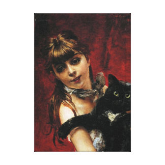 Girl With Black Cat - Painting Reproduction Canvas Print