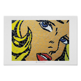 Girl with blue eyes, mosaic poster
