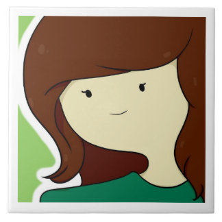 Girl with brown hair large square tile