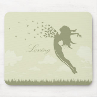 girl with butterflies in a jump mouse pad