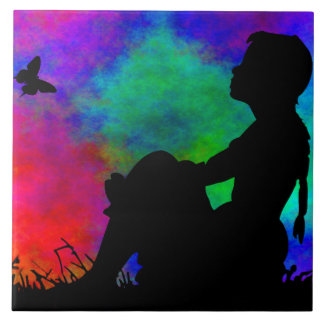 GIRL WITH BUTTERFLY SILHOUTTE-TILE CERAMIC TILE