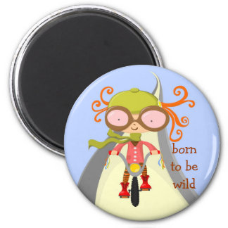 girl with bycicle, born to be wild 6 cm round magnet