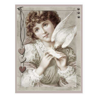 Girl with carrier pigeon CC0584 Valentine postcard