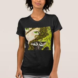 girl with cat 2 tee shirt