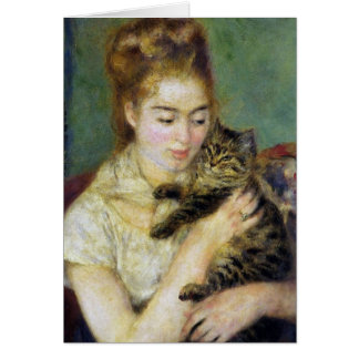 Girl with Cat by Renoir Card