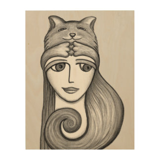 Girl with Cat Hat Charcoal Wood Print
