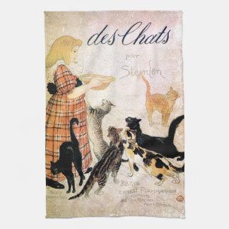 Girl with Cats, Alexandre Steinlen Tea Towel