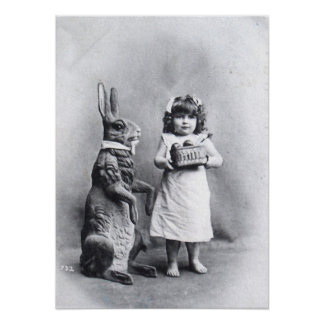 Girl with Chocolates and Easter Bunny Poster