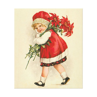 Girl with Christmas flowers Stretched Canvas Print