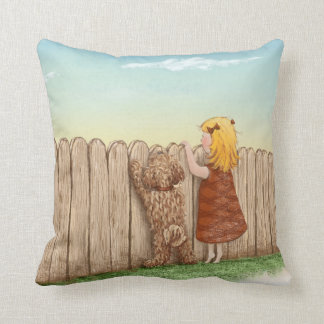 Girl With Dog Paintings / Labradoodle Love Cushion