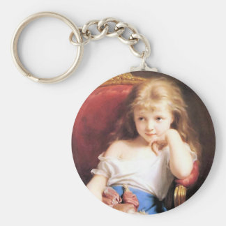 Girl with Doll antique painting Key Chain