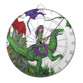 Girl with Dragons and Dinosaurs Dartboard