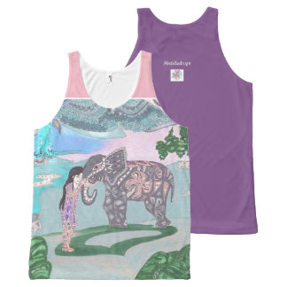 girl with elephant All-Over print singlet