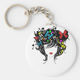 girl with flowers in hair key ring