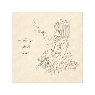 Girl with flowers line art canvas print