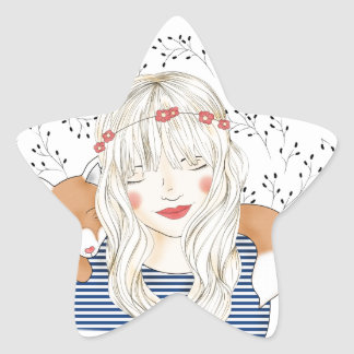 Girl with fox star sticker
