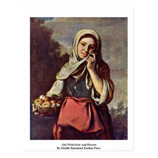 Girl With Fruit And Flowers Postcard