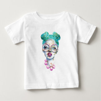 Girl with Glasses Funky Watercolour Art Baby T-Shirt