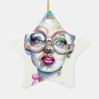 Girl with Glasses Funky Watercolour Art Ceramic Ornament
