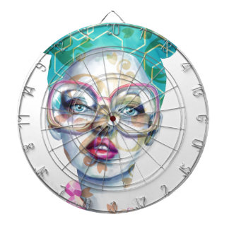 Girl with Glasses Funky Watercolour Art Dartboard