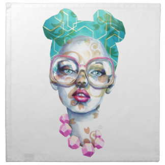 Girl with Glasses Funky Watercolour Art Napkin
