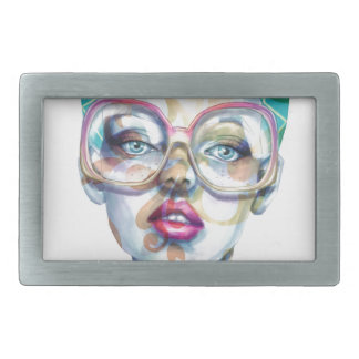 Girl with Glasses Funky Watercolour Art Rectangular Belt Buckle