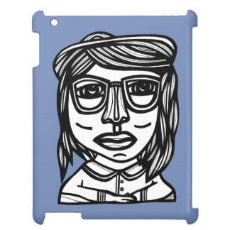 """Girl with Glasses"" iPad Case"