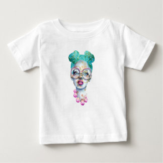 Girl with Glasses Unique Watercolour Art Pink Teal Baby T-Shirt
