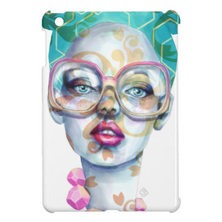 Girl with Glasses Unique Watercolour Art Pink Teal iPad Mini Cases