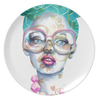 Girl with Glasses Unique Watercolour Art Pink Teal Plate