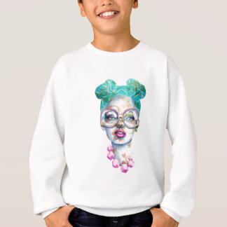 Girl with Glasses Unique Watercolour Art Pink Teal Sweatshirt